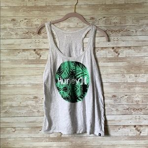 Hurley Tank Top - Gray with Tropical Leaves